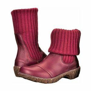 El Naturalista Maroon Sweater Boots